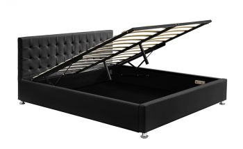 Queen Size Gas Lift Storage Bed Leather Black