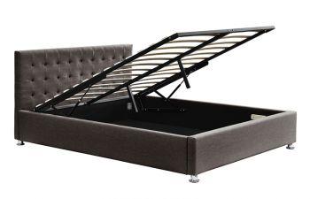 Harlo King Bed Frame Gas Trut Fabric Espresso 183X203CM