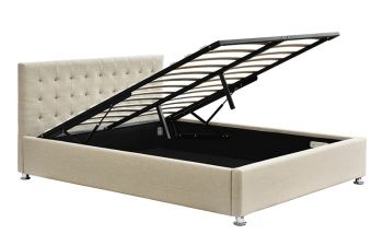 Queen Size Gas Lift Storage Bed Fabric Sand