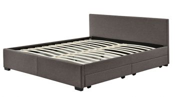 Abbey Queen Size Brown Fabric Bed Frame 4 Storage