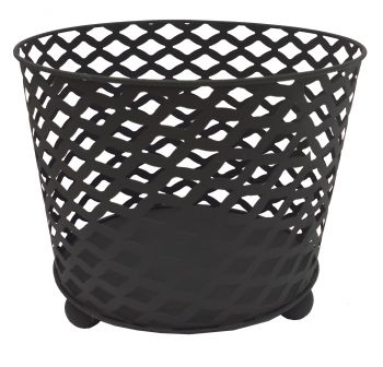 Outdoor Metal Fire Bowl Round Black Finish 38 X 31cm