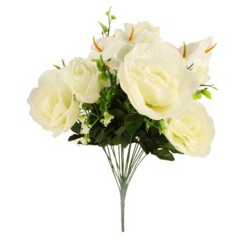 Artificial 18 Heads Rose And Lily Bunch