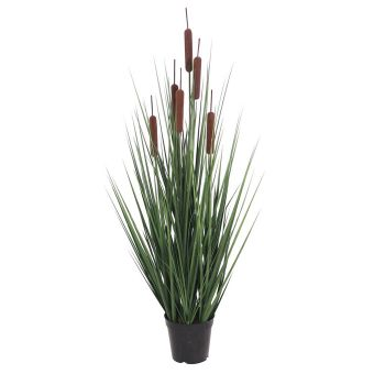 Artificial Cattails Foliage Grass in Plastic Pot