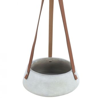 LUCEE CONCRETE HANGING POT WITH PU LEATHER STRAP 20X8CM