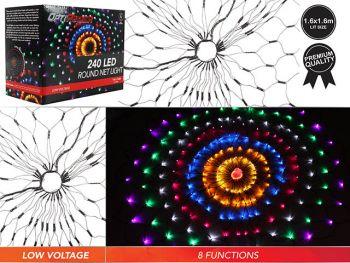 240 LED Multicolor Round Net Light 160CM Christmas Display