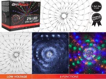 216 LED Spin Net Light 130CM Multicolor/White Display