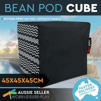 Bean Pod Cover Cube ZigZag Black 45X45X45CM