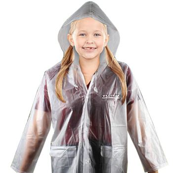 Children Transparent Hooded Raincoat Medium