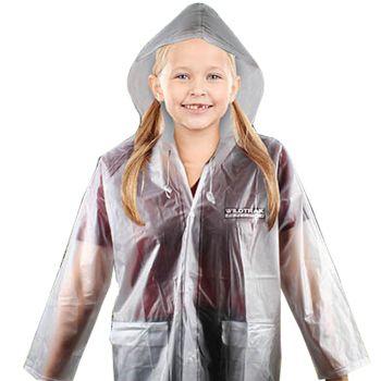 Children Transparent Hooded Raincoat Large