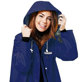 Women Hooded Raincoat Jacket Medium Navy