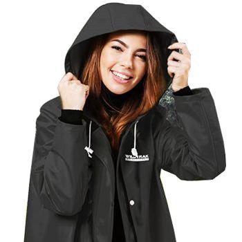 Women Hooded Raincoat Jacket Large Black