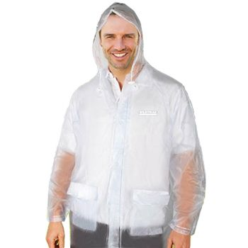 Men Transparent Hooded Raincoat Large