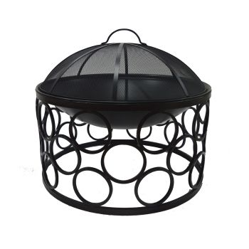 Outdoor Fire Bowl Round with Cover Black Iron