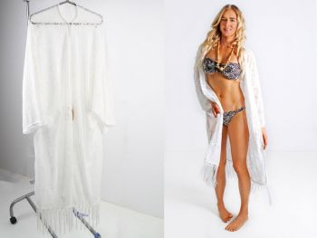 Women Tassel Trim Beach Lace Dress