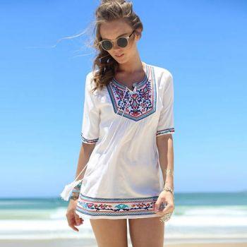 White Women's Sexy Beach Dress Chiffon Lace