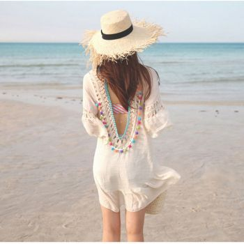 White Crochet Backless Beach Dress Cover Up