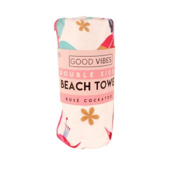 New Double Sided Beach Towel Rose Cockatoo