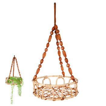 Luna Rattan and Bead Hanging Basket Pot 60x35cm