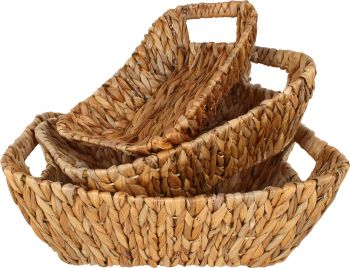HYACE S3 RECTANGLE HYACINTH AND WIRE BASKET 39X27X14CM