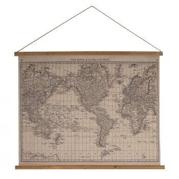 COLUMBUS WORLD MAP WALL ART CHART 97 X 76 X 2CM