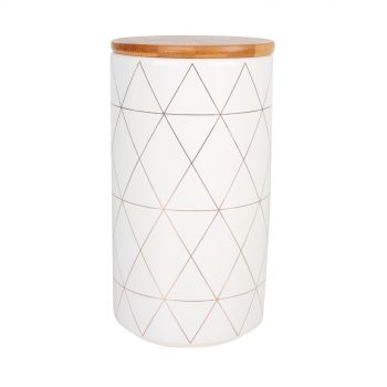 Ceraminc Canister with Bamboo Lid Black Print 10X16cm 960ml