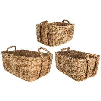 Seagrass Rectangle Basket with Handle Set of 3
