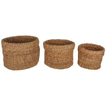 Bremer Sea Grass Round Basket Set of 3