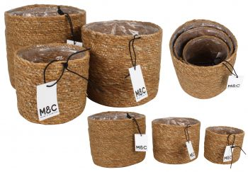 COFFS S3 SEAGRASS LINED BASKETS RND 18X18CM AC HE9548