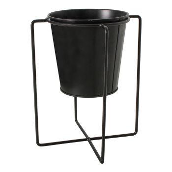 Cors Metal Flower Pot Stand Black 13x23cm