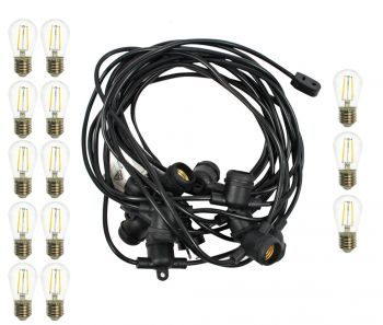 Outdoor Marquee Lights   10m   Black   Filament 2W
