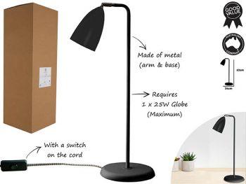 Luminite Scando Black Metal Table Lamp