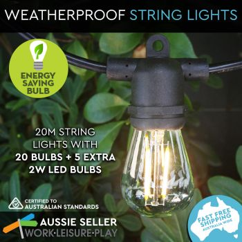 Outdoor Marquee Lights   20m   Black   Filament 2W