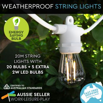 Outdoor Marquee Lights   20m   white   Filament 2W