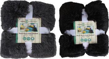 Micro Plush Faux Fur Blanket Throw Rugs Grey Black