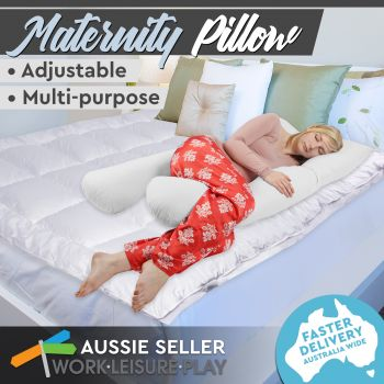 White Maternity Pillow Sleeping Body Support 82X140CM