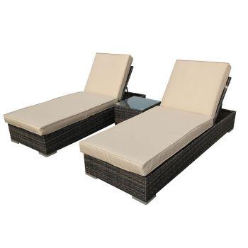Wicker Rattan 3PC Outdoor Furniture Sofa Lounge Pool Garden Sun Lounger