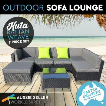 Kuta Wicker Rattan Weave Pool Patio Lounge 7PC Black