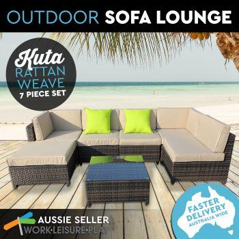 Kuta Wicker Rattan Weave Pool Patio Lounge 7PC Brown