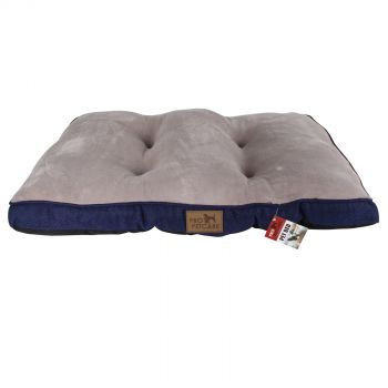 Blue Pet Bed Quilted Plush Top Linen Bottom