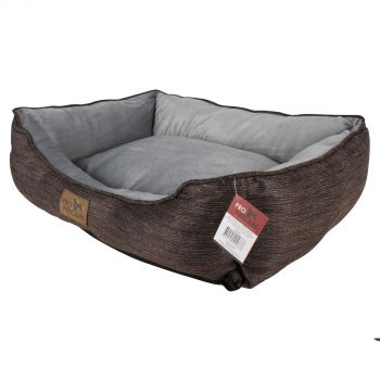 Brown Pet Bed Rect Plush Lining Non Skid Bottom