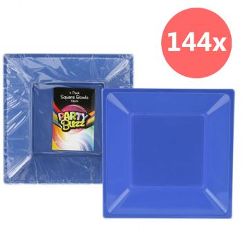 144 Plastic Square Bowls Blue