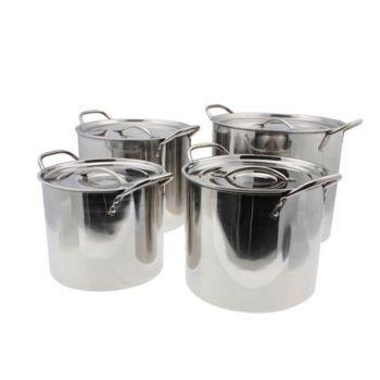 4x Stainless Steel Stock Pots - 6L/7L/9L/12L