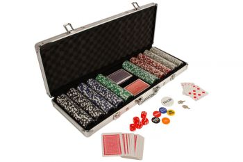 500 Poker Chip Card Game Play Set w/ Aluminium Carry Case