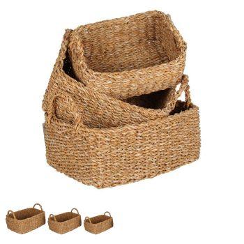 Bondi Sea Grass Rectangle Kitchen Baskets Set of 3