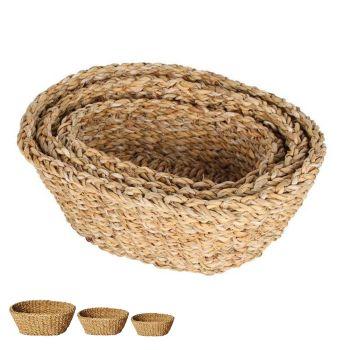 Burleigh Sea Grass Oval Chari Baskets Set of 3