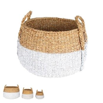 Apollo Sea Grass Bulb Baskets w/ Handles White Dip Set of 3