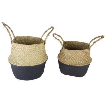 Byron Sea Grass Foldable Baskets Black Set of 2