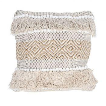Cotton Jute Cushion Cover Diamond Stripe   45cm X 45cm  