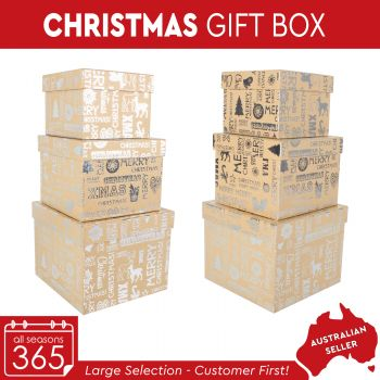 Christmas Gift Box Rectangle with Silver Stamp
