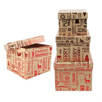 Christmas Gift Box Rectangle with Red Hot Stamp